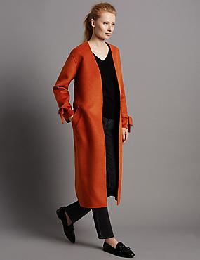 Wool Blend Spilt Robe Coat with Belt, CONKER, catlanding