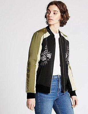 Embroidered Bomber Jacket, BLACK MIX, catlanding