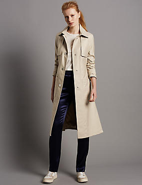 Belted Trench Coat with Stormwear™, STONE, catlanding