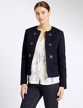 Pure Cotton Twill Jacket, NAVY MIX, catlanding