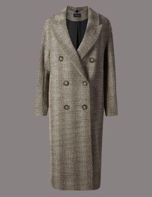 Текстурное двубортное пальто свободного кроя Autograph T493405T