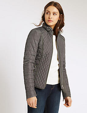 Padded & Quilted Jacket with Stormwear™, KHAKI, catlanding