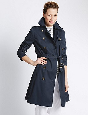 Pure Cotton Belted Trench Coat with Stormwear™, NAVY, catlanding