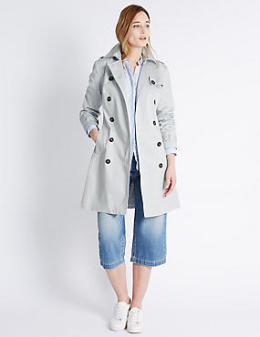 Pure Cotton Trench Coat with Stormwear™, SILVER GREY, catlanding