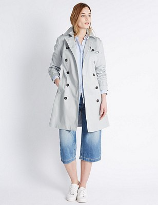 Pure Cotton Belted Trench Coat with Stormwear™, SILVER GREY, catlanding