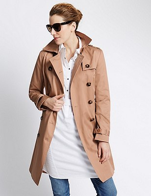 Pure Cotton Belted Trench Coat with Stormwear™, LIGHT SAND, catlanding