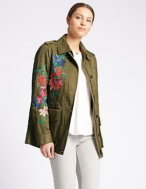 Cotton Blend Embroidered Jacket, KHAKI MIX, catlanding