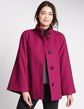 Manteau style cape en trapèze, FRAMBOISE, catlanding