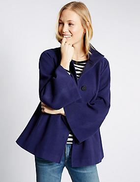 Manteau style cape en trapèze, SAPHIR, catlanding