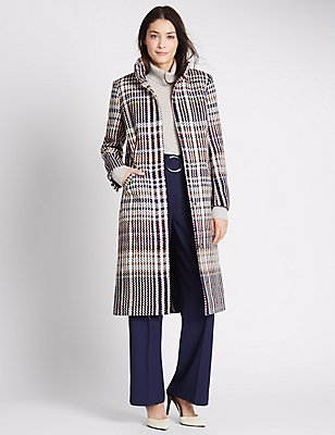Checked Funnel Neck Coat, IVORY MIX, catlanding