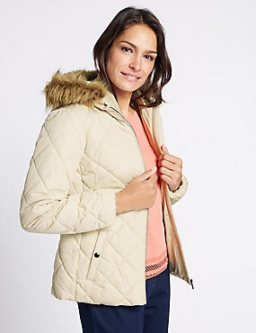 Padded & Quilted Jacket with Stormwear™, IVORY, catlanding