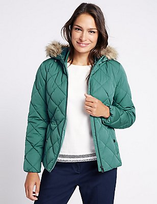 Padded & Quilted Jacket with Stormwear ™, PETROL GREEN, catlanding