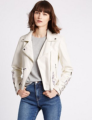 PU Floral Embroidered Jacket, IVORY, catlanding