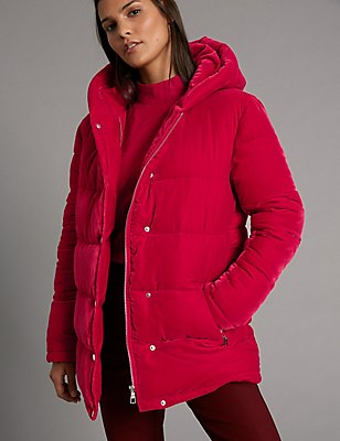 Velvet Padded Jacket, DARK RED, catlanding