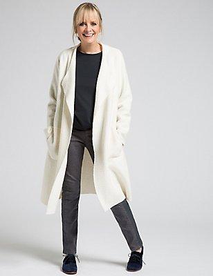 Wool Blend Open Front Jacket, IVORY, catlanding