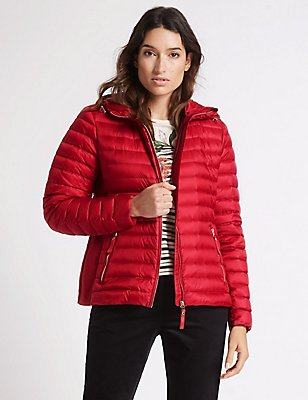 Down & Feather Jacket with Stormwear™, RED, catlanding