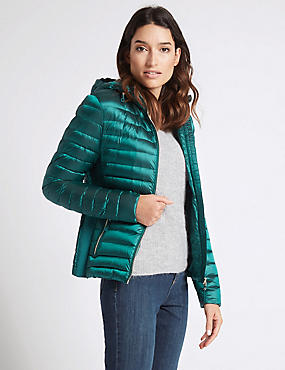 Down & Feather Jacket with Stormwear™, TEAL, catlanding