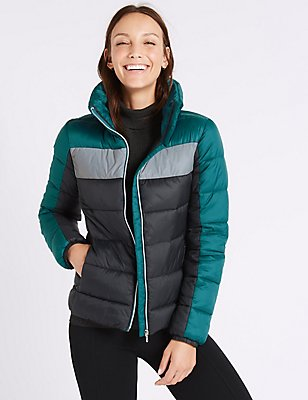 Colour Block Padded Down & Feather Jacket, TEAL MIX, catlanding