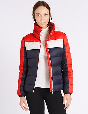 Colour Block Jacket with Concealed Hood, RED MIX, catlanding