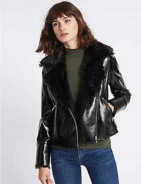 Faux Leather Biker Jacket, BLACK, catlanding