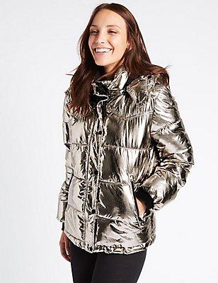 Metallic Padded Jacket, GOLDEN ROSE, catlanding