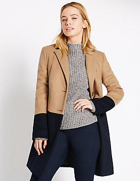 PETITE Colour Block Overcoat, CAMEL MIX, catlanding