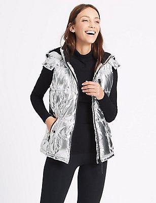 Metallic Padded Gilet with Stormwear™, SILVER, catlanding