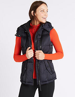 Satin Padded Gilet with Stormwear™, NAVY, catlanding