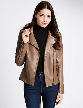 Faux Leather Stich Detail Biker Jacket, TAN, catlanding