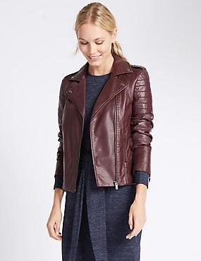 Faux Leather Biker Jacket, BURGUNDY, catlanding