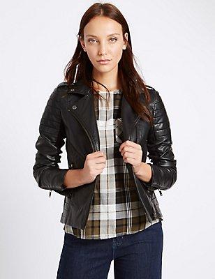Faux Leather Stich Detail Biker Jacket, BLACK, catlanding
