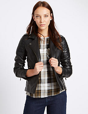 Faux Leather Stich Detail Biker Jacket, BLACK, catlanding
