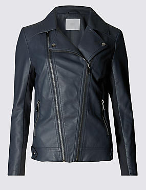 Faux Leather Biker Jacket with Stormwear™