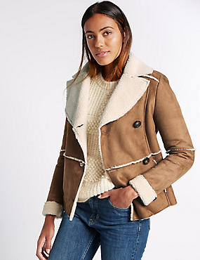 Mock Shearling Jacket, TAN, catlanding