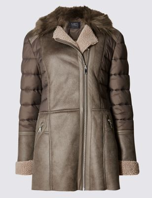 Текстурная дублёная куртка с комбинированной отделкой M&S Collection T493565