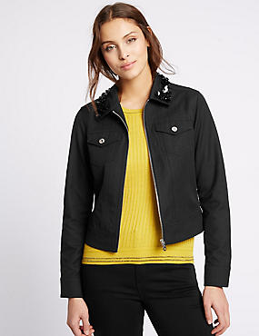 Cotton Blend Jewel Collar Neck Jacket, BLACK, catlanding