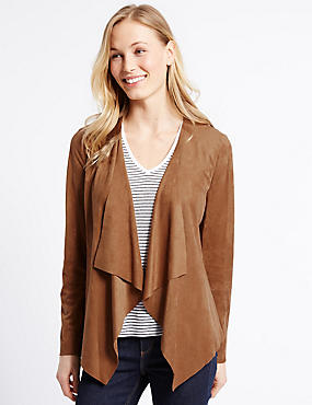Faux Suede Waterfall Jacket, TAN, catlanding