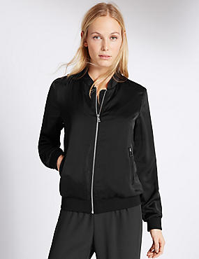 Zipped Through Bomber Jacket, BLACK, catlanding