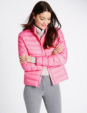 Down & Feather Jacket with Stormwear™, PINK, catlanding
