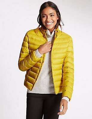 Down & Feather Jacket with Stormwear™, YELLOW, catlanding