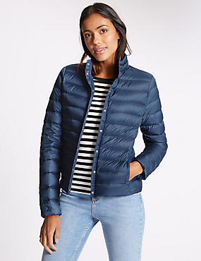 Down & Feather Jacket with Stormwear™, MARINE, catlanding