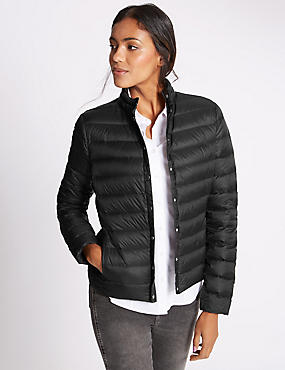 Down & Feather Jacket with Stormwear™, BLACK, catlanding