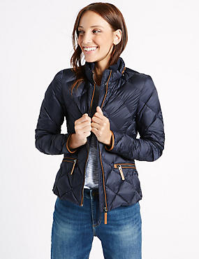 Down & Feather Jacket with Stormwear™, NAVY, catlanding