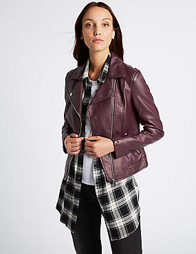 Crossed Zipped Biker Jacket, BERRY, catlanding