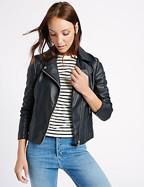 Crossed Zipped Biker Jacket, MIDNIGHT NAVY, catlanding