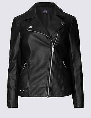 PU Biker Jacket, BLACK, catlanding