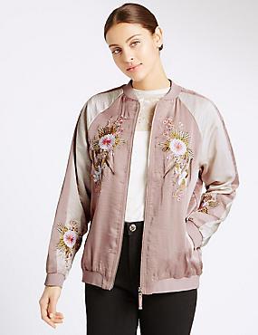 Floral Embroidered Bomber Jacket, DUSTED PINK, catlanding