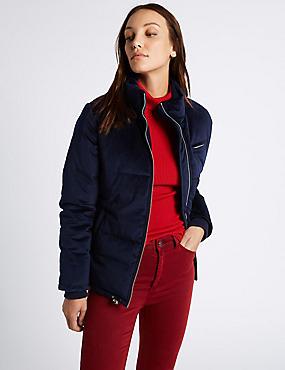 Velvet Padded Jacket, NAVY, catlanding