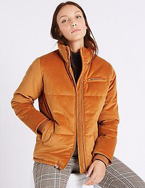 Velvet Padded Jacket, BURNT ORANGE, catlanding