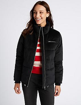 Velvet Padded Jacket, BLACK, catlanding